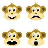 Πίθηκοι, smiley, smileys διαφορετικές συγκινήσ&epsil απεικόνιση αποθεμάτων