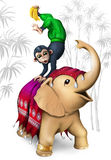 Πίθηκος και ελέφαντας Στοκ εικόνα με δικαίωμα ελεύθερης χρήσης