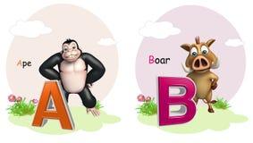 Πίθηκος και κάπρος με Alphabate Στοκ Εικόνα