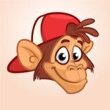 Πίθηκος κινούμενων σχεδίων Διανυσματικό ευτυχές επικεφαλής εικονίδιο πιθήκων Χαρακτήρας χιπ-χοπ Απεικόνιση που απομονώνεται στοκ εικόνες