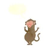 πίθηκος κινούμενων σχεδίων με τη λεκτική φυσαλίδα Στοκ φωτογραφία με δικαίωμα ελεύθερης χρήσης