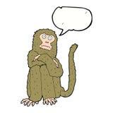 πίθηκος κινούμενων σχεδίων με τη λεκτική φυσαλίδα Στοκ Φωτογραφίες