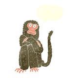 πίθηκος κινούμενων σχεδίων με τη λεκτική φυσαλίδα Στοκ Εικόνες
