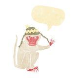 πίθηκος κινούμενων σχεδίων που φορά το καπέλο με τη λεκτική φυσαλίδα Στοκ Εικόνα