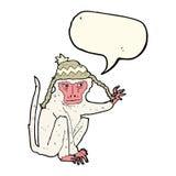 πίθηκος κινούμενων σχεδίων που φορά το καπέλο με τη λεκτική φυσαλίδα Στοκ Φωτογραφία
