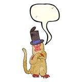 πίθηκος κινούμενων σχεδίων που φορά το καπέλο με τη λεκτική φυσαλίδα Στοκ φωτογραφία με δικαίωμα ελεύθερης χρήσης