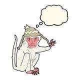 πίθηκος κινούμενων σχεδίων που φορά το καπέλο με τη σκεπτόμενη φυσαλίδα Στοκ Φωτογραφίες