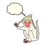 πίθηκος κινούμενων σχεδίων που φορά το καπέλο με τη σκεπτόμενη φυσαλίδα Στοκ Φωτογραφία