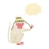 πίθηκος κινούμενων σχεδίων που φορά το καπέλο με τη σκεπτόμενη φυσαλίδα Στοκ εικόνες με δικαίωμα ελεύθερης χρήσης