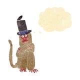πίθηκος κινούμενων σχεδίων που φορά το καπέλο με τη σκεπτόμενη φυσαλίδα Στοκ εικόνα με δικαίωμα ελεύθερης χρήσης
