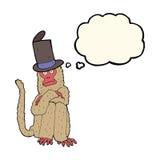 πίθηκος κινούμενων σχεδίων που φορά το καπέλο με τη σκεπτόμενη φυσαλίδα Στοκ φωτογραφία με δικαίωμα ελεύθερης χρήσης