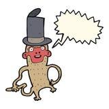 πίθηκος κινούμενων σχεδίων που φορά το τοπ καπέλο με τη λεκτική φυσαλίδα Στοκ Φωτογραφία