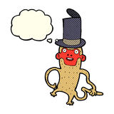 πίθηκος κινούμενων σχεδίων που φορά το τοπ καπέλο με τη σκεπτόμενη φυσαλίδα Στοκ Φωτογραφία