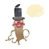 πίθηκος κινούμενων σχεδίων που φορά το τοπ καπέλο με τη σκεπτόμενη φυσαλίδα Στοκ Φωτογραφίες