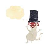 πίθηκος κινούμενων σχεδίων στο τοπ καπέλο με τη σκεπτόμενη φυσαλίδα Στοκ Εικόνες