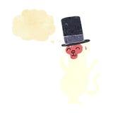 πίθηκος κινούμενων σχεδίων στο τοπ καπέλο με τη σκεπτόμενη φυσαλίδα Στοκ φωτογραφία με δικαίωμα ελεύθερης χρήσης