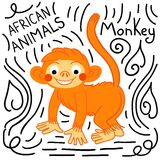 Πίθηκος με την εγγραφή σε ένα άσπρο υπόβαθρο που απομονώνεται απεικόνιση αποθεμάτων