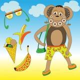 Πίθηκος με τις μπανάνες και το παγωτό διανυσματική απεικόνιση