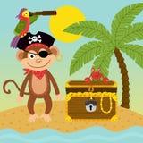 Πίθηκος πειρατών στο νησί κοντά στο στήθος θησαυρών διανυσματική απεικόνιση