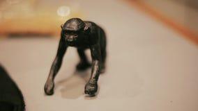 Πίθηκος που διαμορφώνεται διακοσμητικός στο γραφείο γραφείων ή τον πίνακα απόθεμα βίντεο