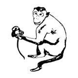 Πίθηκος που κάθεται 0 - αφαίρεση Στοκ Εικόνα