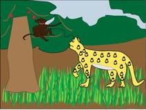 Πίθηκος που πειράζει έναν ιαγουάρο διανυσματική απεικόνιση