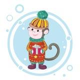Πίθηκος 2 Χαρούμενα Χριστούγεννας Στοκ Φωτογραφίες