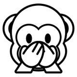Πίθηκος Emoji κινούμενων σχεδίων που απομονώνεται στο άσπρο υπόβαθρο ελεύθερη απεικόνιση δικαιώματος