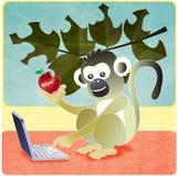πίθηκος lap-top μήλων Στοκ Εικόνα