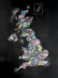 Πίνακας ή πίνακας κιμωλίας με το U Κ Χάρτης με τις κομητείες Στοκ εικόνες με δικαίωμα ελεύθερης χρήσης