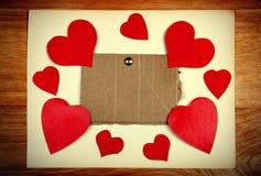 Πίνακας ανακοινώσεων με τη μορφή καρδιών Στοκ εικόνες με δικαίωμα ελεύθερης χρήσης