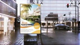 πίνακας διαφημίσεων διαφήμισης ακίνητων περιουσιών στην πόλη κεντρικός διανυσματική απεικόνιση