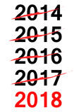 Πίνακας ελέγχου για το νέο έτος 2018 Στοκ εικόνα με δικαίωμα ελεύθερης χρήσης