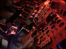 Πίνακας ελέγχου του διαστημικού σκάφους από τα τέλη του 1960 το s απόλλωνα που επιδεικνύεται σε διαστημικό EXPO Στοκ Εικόνες