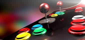 Πίνακας ελέγχου Arcade με το πηδάλιο και τα κουμπιά Στοκ Φωτογραφίες