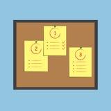 Πίνακας δελτίων με τις σημειώσεις εγγράφου και κολλώδης Επίπεδο σχέδιο Στοκ Φωτογραφία
