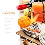 Πίνακας ημέρας των ευχαριστιών που θέτει με τις κολοκύθες Στοκ Εικόνα