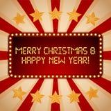 Πίνακας διαφημίσεων βολβοί ηλεκτρικοί Αναδρομικά ελαφριά πλαίσια Χαρούμενα Χριστούγεννα και καλή χρονιά διανυσματική απεικόνιση
