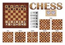 Πίνακας και μετακινήσεις του σκακιού Στοκ Εικόνες