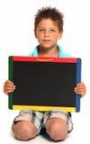 πίνακας κιμωλίας αγοριών &e στοκ φωτογραφία
