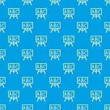 Πίνακας κιμωλίας με το άνευ ραφής μπλε σχεδίων leters ABC Στοκ φωτογραφία με δικαίωμα ελεύθερης χρήσης