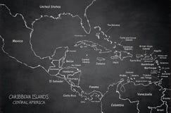 Πίνακας κιμωλίας πινάκων χαρτών της Κεντρικής Αμερικής νησιών Καραϊβικής διανυσματική απεικόνιση