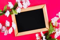 Πίνακας κιμωλίας σε ένα ξύλινο πλαίσιο με ένα κενό κιβώτιο που περιβάλλεται από τα άσπρα λουλούδια σε ένα ρόδινο υπόβαθρο Αντιγρά Στοκ Φωτογραφία
