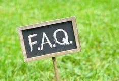 Πίνακας κιμωλίας FAQ Στοκ φωτογραφία με δικαίωμα ελεύθερης χρήσης