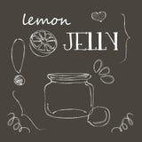 Πίνακας κιμωλίας με το βάζο της ζελατίνας λεμονιών Στοκ Εικόνα