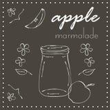 Πίνακας κιμωλίας με το βάζο της μαρμελάδας μήλων Στοκ Εικόνα