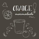 Πίνακας κιμωλίας με το βάζο της πορτοκαλιάς μαρμελάδας Στοκ Φωτογραφίες