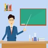 Πίνακας κρότων καθηγητή Point Pointer To Green σχολείο Στοκ Εικόνες