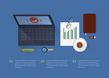 Πίνακας με ένα υπόβαθρο lap-top, εγκαταστάσεις γραφείων απεικόνιση αποθεμάτων