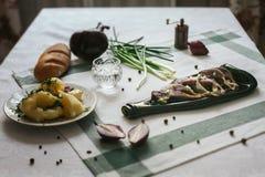 Πίνακας με τα τρόφιμα τυποποιημένα Στοκ Εικόνα